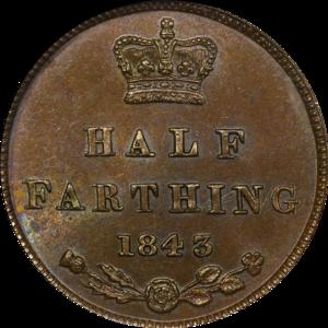 Half farthing - Image: 1843 Great Britain Half Farthing Reverse