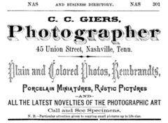 1876 C C Giers photographer Nashville Tennessee advert.png