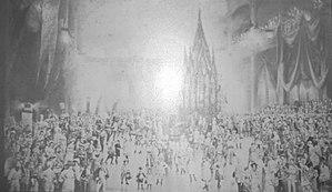 Mechanics Hall (Boston, Massachusetts) - Image: 1883 Rollerskate Carnival in Boston USA