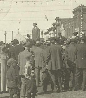 Adolph Olson Eberhart - Eberhart above a crowd at the 1913 Goodhue County Fair in Zumbrota, Minnesota