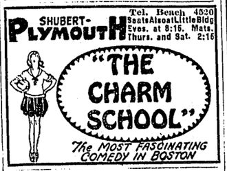 Alice Duer Miller - Advertisement for production of Miller's Charm School, Plymouth Theatre, 1920