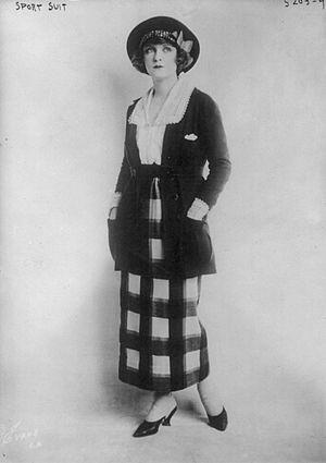 """Sportswear (fashion) - Woman wearing a """"sport suit,"""" American, June 1920. Sportswear originally described interchangeable separates, as here."""