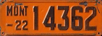 Vehicle registration plates of Montana - Image: 1922 Montana license plate