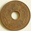 1924 East African 5 cent coin obverse.jpg