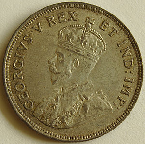 East African shilling - Image: 1925 East African 1 Shilling coin obverse