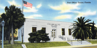 Florida Historical Society - This is a rendering of the historical 1939 U.S. Post Office building in Cocoa, Florida, that currently houses the Florida Historical Society and the Library of Florida History