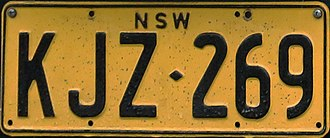 Vehicle registration plates of New South Wales - Original yellow series, note colour difference