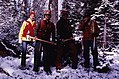 1980. Forest pathologists. L-R Alan Kanaskie (Oregon Department of Forestry), Greg Filip, + 2 unidentified. Cache Mountain. Deschutes National Forest, Oregon. (34904276830).jpg
