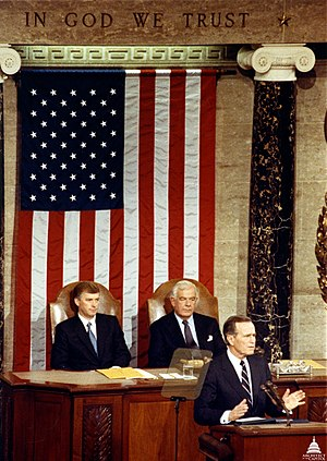 1990 State of the Union Address - President George H. W. Bush delivering the address. Sitting behind Bush are Vice President Dan Quayle and House Speaker Tom Foley.