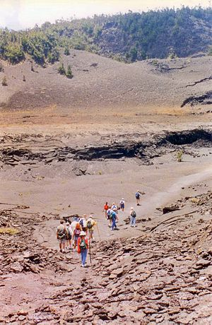 Kīlauea Iki - Tourists trekking along a well-worn path through the caldera landscape, May 1999