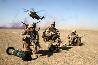 1st Battalion, 7th Marines - Marines with Weapons Company, 1/7, land during a mission in Helmand province, Afghanistan, 28 April 2014.