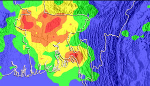 2007 Chittagong mudslides - Rainfall totals over Bangladesh from 4 through 11 June 2007, based on measurements from the Tropical Rainfall Measuring Mission satellite. The heaviest rainfall, of up to 500 mm (20 inches), is shown in red. Orange, yellow, green and blue indicate rainfall up to 400, 300, 200 and 100 mm respectively.