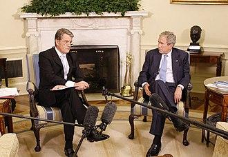 President of Ukraine - Then-President Viktor Yushchenko meeting with then-US President George W. Bush in 2008.