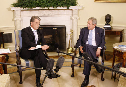 Then-President Viktor Yushchenko meeting with then-U.S. President George W. Bush in 2008. - President of Ukraine
