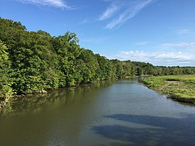 2016-09-11 09 20 24 View north up the Patuxent River from the Maryland State Route 4 (Stephanie Roper Highway) bridge connecting Waysons Corner, Anne Arundel County, Maryland with Marlboro Meadows, Prince Georges County, Maryland.jpg