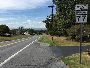 Maryland Route 77 - View west along MD 77 in Rocky Ridge