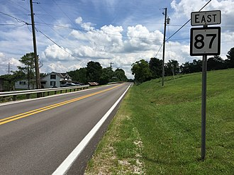 West Virginia Route 87 - View east along WV 87 at WV 2 in eastern Mason County