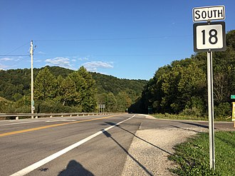 West Virginia Route 18 - View south along WV 18 at CR 18/1 just south of West Union