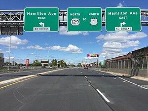 New Jersey Route 129 - View north along NJ 129 at Hamilton Avenue
