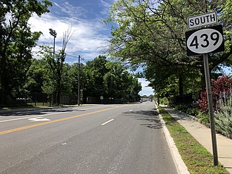 New Jersey Route 439 - Route 439 southbound after Route 82 at Kean University