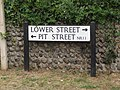 2018-07-21 Street sign, Pit street and Lower street, Lower Southrepps.JPG