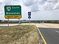 2019-08-07 12 08 31 View south along U.S. Route 29 (Lee Highway) at the exit for Virginia State Route 28 SOUTH (Manassas) in Centreville, Fairfax County, Virginia.jpg