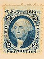 "2 cents revenue stamp of the U.S. Internal Revenue Service ""PROPRIETARY"" - Frank Schulenburg Photographic Collection – Carte de Visite – Silas Selleck-5018 (cropped).jpg"