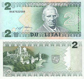 Lithuanian litas - Image: 2 litai (1993)