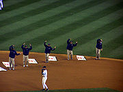 The Groundscrew at Yankee Stadium dancing to the Y.M.C.A.
