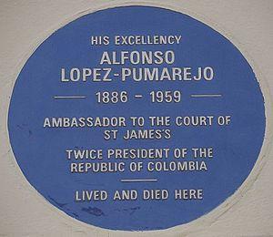 Alfonso López Pumarejo - Blue plaque, 33 Wilton Crescent
