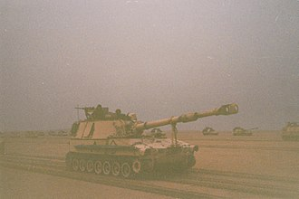 3rd Field Artillery Regiment (United States) - Battery C, 4th Battalion of the 3rd Field Artillery Regiment, 2nd Armored Division(FWD) moves into position to conduct fire missions during the Battle of Norfolk, February 1991.
