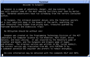 "Zork - 4.3 BSD from the University of Wisconsin, running Zork and displaying the introductory leaflet for ""Dungeon"""