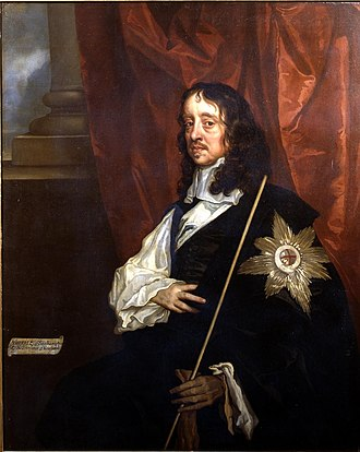 Thomas Wriothesley, 4th Earl of Southampton - Thomas Wriothesley, 4th Earl of Southampton, wearing his Garter Star and holding his Staff of Office as Lord High Treasurer. Portrait by School of Sir Peter Lely