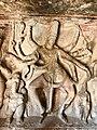 6th century Ravanaphadi cave temple, Nataraja with Ganesha and Kartikeya, Aihole Hindu monuments Karnataka.jpg