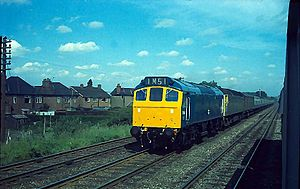British Rail Class 25 - Class 25/2 No.7536 piloting a London express south of Leicester in June 1972