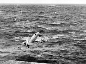 Nairana-class escort carrier - 825 Naval Air Squadron Sea Hurricane takes off from HMS ''Vindex''.