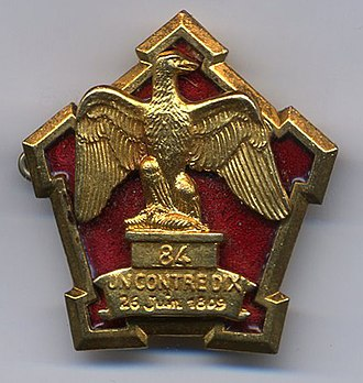 Battle of Graz - 84th Line Infantry Regiment insignia showing the inscription UN CONTRE DIX 26 Juin 1809