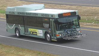 Redwood Transit System - An RTS Gillig hybrid bus on US 101