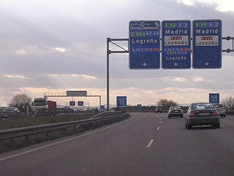 European route E90 - The E90 near Zaragoza, Spain