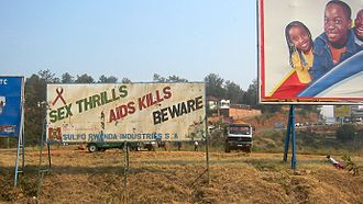 HIV/AIDS in Rwanda - AIDS awareness sign in Rwanda