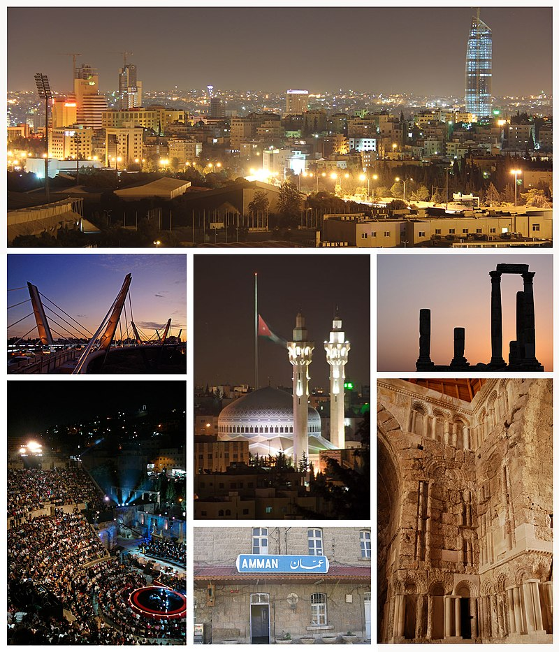 Amman city landmarks, From right to left and above to below: Amman's skyline as seen from Sport city, Temple of Hercules at Amman Citadel, King Abdullah I Mosque and Raghadan Flagpole, Abdoun Bridge,  Umayyad Palace, Ottoman Hejaz Railway station and  Roman theater.