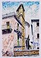 ATESSA - CH - 1994 - Campanile Chiesa dell' Addolorata - China e olio 20 x 29 - dipinto di Gaetano Minale.jpg