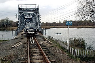 Narrow-gauge railways in Ukraine - ZIM railcar on the bridge over Pivdennyi Buh on Haivoron narrow-gauge railway