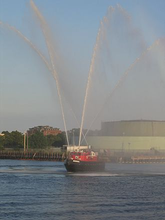 Deluge gun - The Boston fireboat Firefighter shows off its fire monitors.