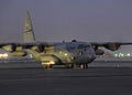 A C-130 Hercules from Dyess AFB assigned to the 386th Air Expeditionary Wing prepares for a nighttime departure.jpg