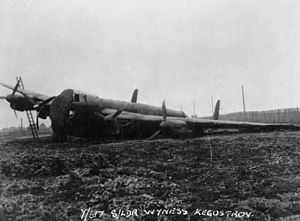 Operation Paravane - A No. 617 Squadron Lancaster which made a crash landing near the settlement of Kegostrov during the unit's flight to the USSR