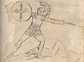 A Roman soldier throws a javelin over a dead body. Drawing, Wellcome V0009304.jpg