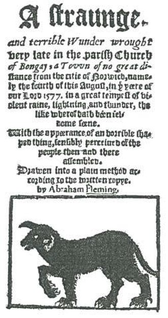 "Black dog (ghost) - Title page of the account of Rev. Abraham Fleming's account of the appearance of the ghostly black dog ""Black Shuck"" at the church of Bungay, Suffolk in 1577"