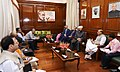 A Syrian delegation led by the Grand Mufti of the Syrian Republic, Dr. Ahmad Badreddin Hassoun meeting the Union Home Minister, Shri Rajnath Singh, in New Delhi on September 27, 2017.jpg