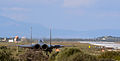 A U.S. Air Force F-15E Strike Eagle aircraft waits to be cleared for takeoff by the air traffic control tower at Souda Air Base, Greece, during joint warfighting training with the Hellenic Air Force Feb. 27 140227-F-MY082-179.jpg
